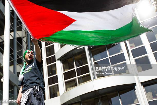 Demonstrators hold a march and rally outside the Israeli Embassy to oppose Israel's actions in Gaza on July 19 2014 in London England Concern has...
