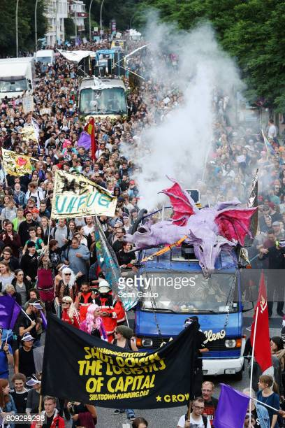 Demonstrators hold a 'Night Dance' protest ahead of Friday and Saturday's G20 summit on July 5 2017 in Hamburg Germany Authorities are bracing...