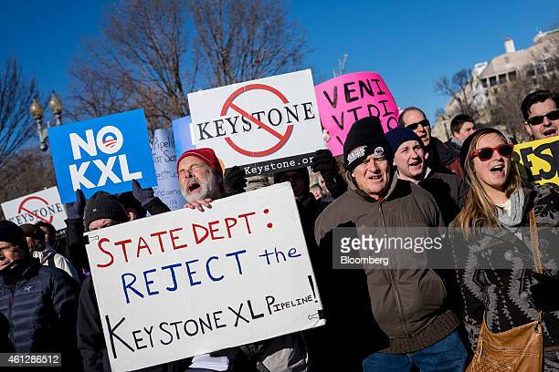 Demonstrators hold a rally against the Keystone XL pipeline outside of the White House in Washington DC US on Saturday Jan 10 2015 The Keystone XL...