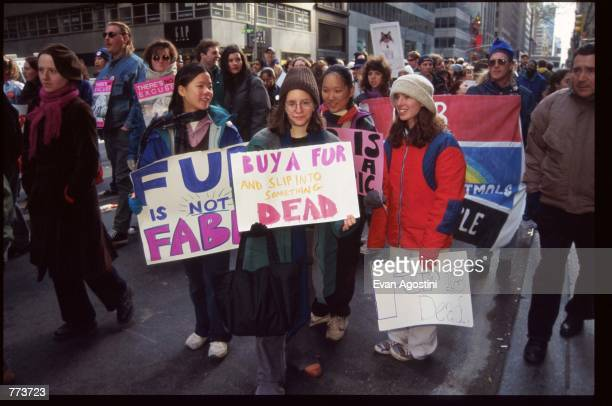 Demonstrators hold up signs at an antifur rally November 24 1995 in New York City People for the Ethical Treatment of Animals hold an annual antifur...