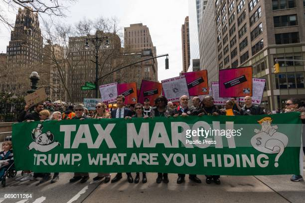 Demonstrators in New York City rallied at Bryant Park in Midtown Manhattan before march to Trump Tower as part of a nationwide series of...