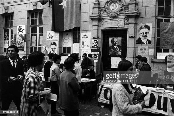 Demonstrators In The Courtyard Of The Sorbonne In Paris France In May 1968