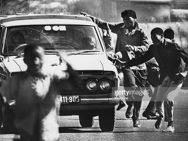 Demonstrators in the streets during the Soweto uprising South Africa 21st June 1976