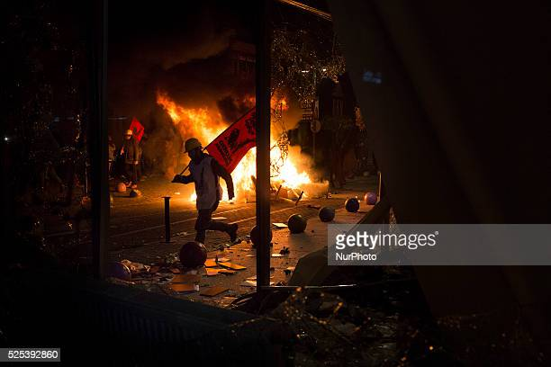 Demonstrators made a bonfire on February 25 2014 Thousands marched against corruption following the release of tapped phone conversation allegedly...