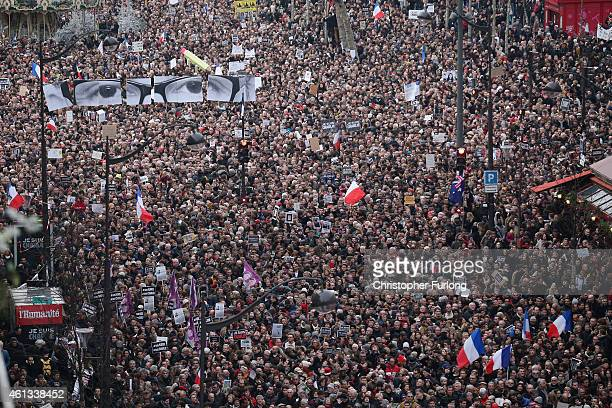 Demonstrators make their way along Boulevard Voltaire in a unity rally in Paris following the recent terrorist attacks on January 11 2015 in Paris...