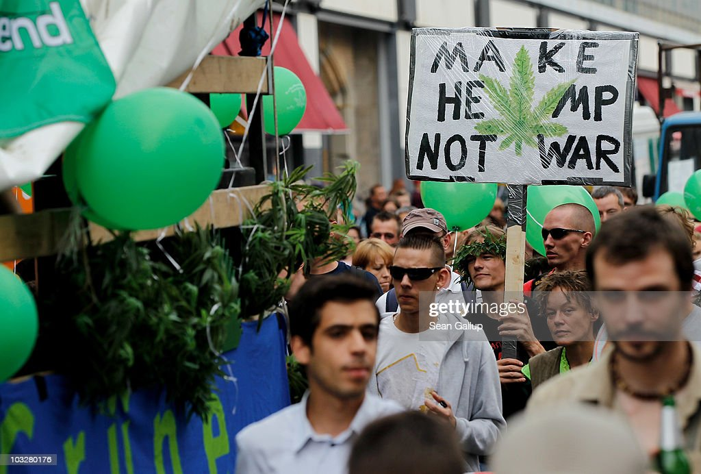 Demonstrators march in support of the legalization of marijuana in Germany during the annual Hemp Parade, or 'Hanfparade', on August 7, 2010 in Berlin, Germany. The consumption of cannabis in Germany is legal, though all other aspects, including growing, importing or selling it, are not. However, since the introduction of a new law in 2009, the sale and possession of marijuana for licenced medicinal use is legal.