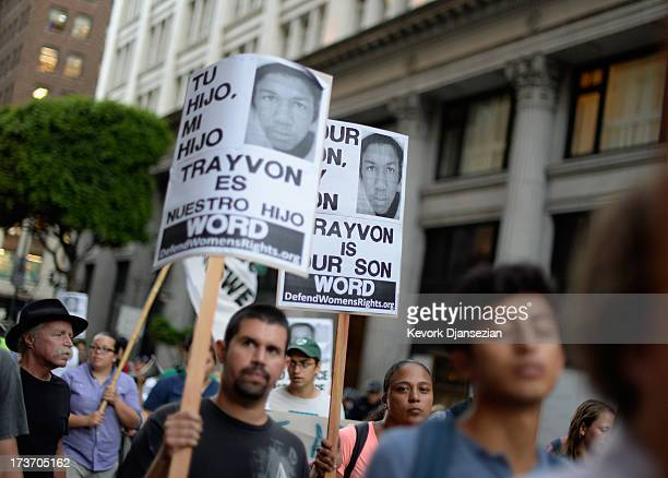 Demonstrators march in the streets of Downtown Los Angeles against the acquittal of George Zimmerman in the shooting death of Florida teen Trayvon...