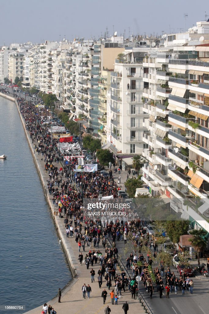Demonstrators march in Thessaloniki on 24 November, 2012 against efforts by Hellas, a subsidiary of the Canadian firm Eldorado Gold, to mine the Skouries quarry on Mount Kakkavos, in the Halkidiki peninsula in northern Greece. Eldorado Gold says it plans to plough around one billion euros (1.2 billion US dollars) into the mines of Halkidiki, which have been producing lead, zinc and silver for decades.