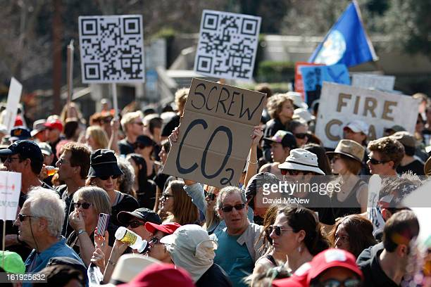 Demonstrators march to the 'Forward on Climate' rally to call on President Obama to take strong action on the climate crisis on February 17 2013 in...