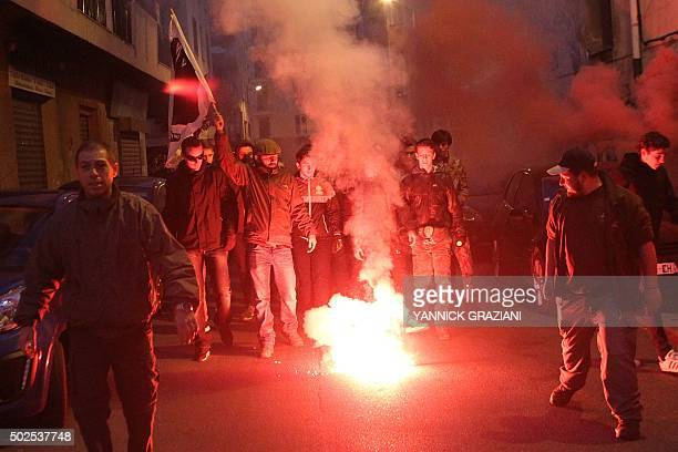 Demonstrators march towards the prefecture in Ajaccio during a protest on December 26 a day after demonstrators vandalised a Muslim prayer hall and...