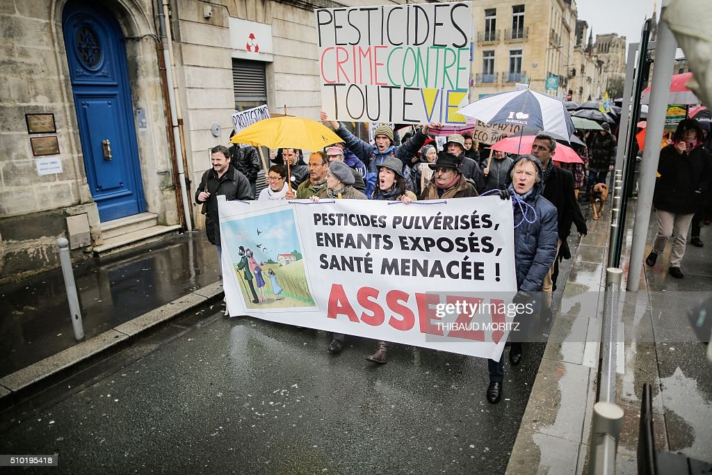 Demonstrators march under the rain on February 14, 2016 in Bordeaux, southwestern France, during a demonstration against pesticides and GMOs (genetically modified organisms). The banner reads 'Children exposed to pesticides, health threatened, enough!'. / AFP / Thibaud MORITZ