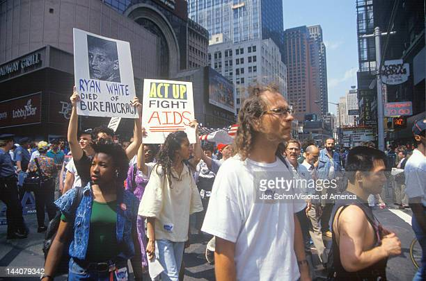 Demonstrators marching at AIDS rally New York City New York