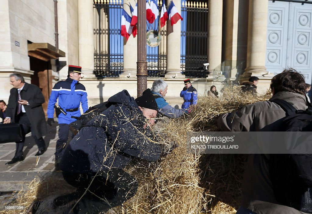 Demonstrators of the French farmers union 'Confederation Paysanne' spread straw as they protest in front of the French National Assembly, on January 16, 2013 in Paris, against breeding conditions in France. They denounced the increasing prices of basic products for the cattle. AFP PHOTO/ KENZO TRIBOUILLARD