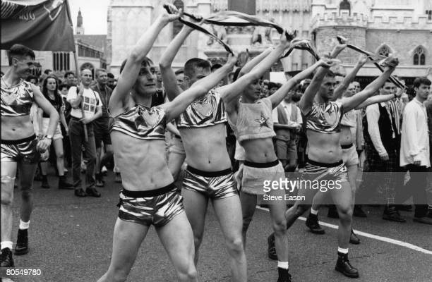 Demonstrators on the annual Gay Pride march promoting gay and lesbian rights London 26th June 1995