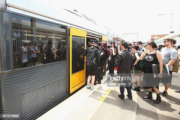 Demonstrators opposing the Party for Freedom gathering to commemorate the 10 year anniversary of the Cronulla riot depart by train from Cronulla...