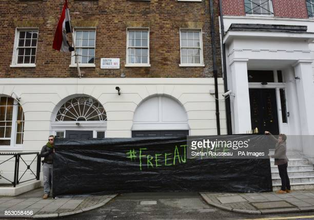 Demonstrators outside the Egyptian Embassy in London as part of an NUJ day of action to demand immediate release of detained journalists in Egypt