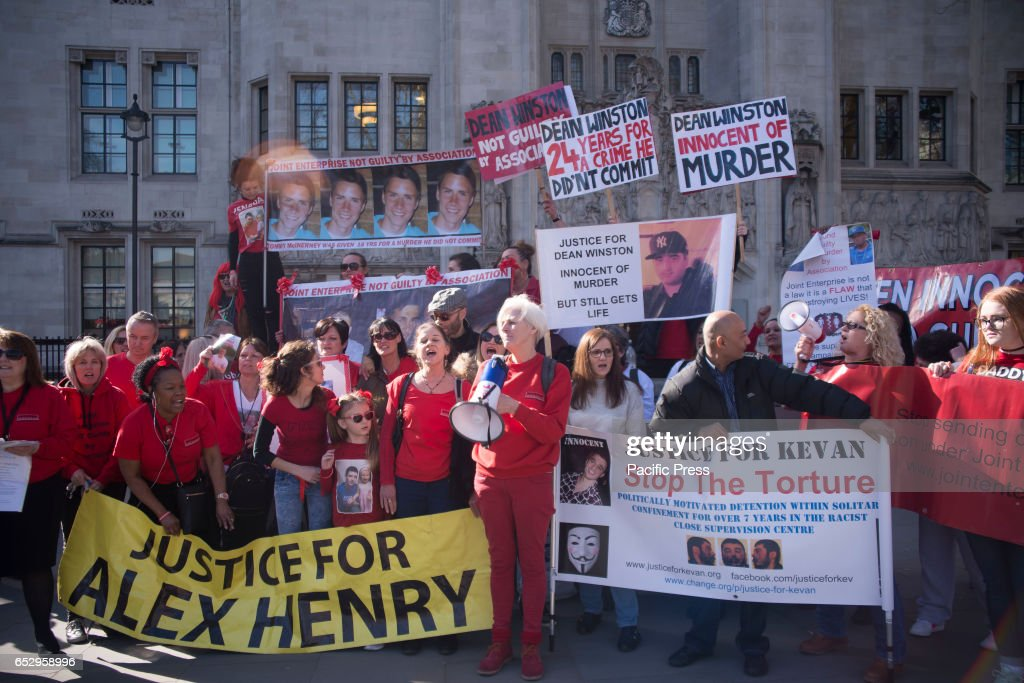 Demonstrators outside The Supreme Court to ask for justice for Alex Henry. In March 2014 Alex Henry was convicted of murder under joint enterprise - his mother, Sally Halsall, has spent 18 months fighting what she sees as an unjust law.
