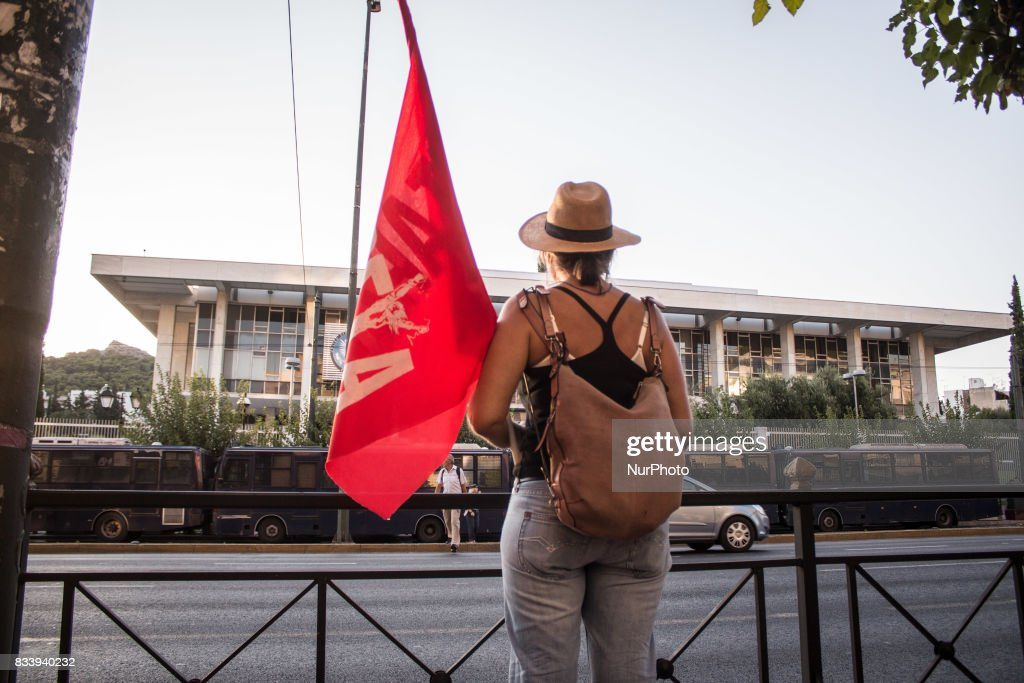 Demonstrators participate in a march and rally'From Athens to Charlottesvile' against white supremacy on August 17, 2017 in Athen, Greece. Protesters march to the Embassy of the United States of America, in memory of Heather Heyer. Heather died in the age of 32, when a 20 year old white supremacist/neonazi driver slammed into a crowd of counter protesters during a rally in Charlottesville, Pennsylvania