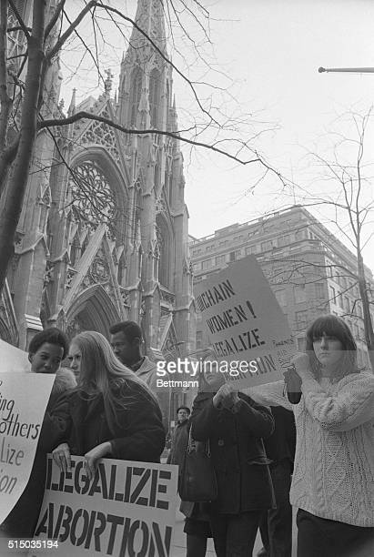 Demonstrators picket in front of St Patrick's Cathedral March 12th calling for reform of the abortion law and protesting refusal for the Roman...