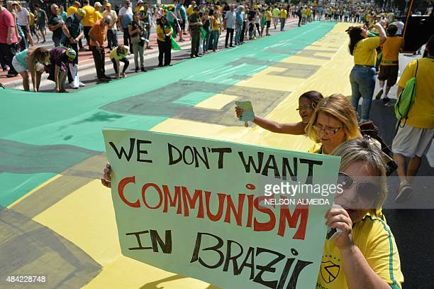 Demonstrators protest against Brazilian President Dilma Rousseff and the ruling Workers Party at Paulista Avenue in Sao Paulo Brazil on August 16...