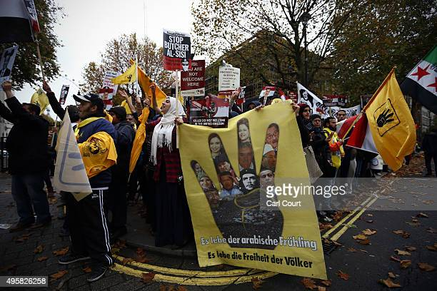 Demonstrators protest against Egypt's President Abdel Fattah elSisi ahead of his visit to meet Prime Minister David Cameron in Downing Street on...