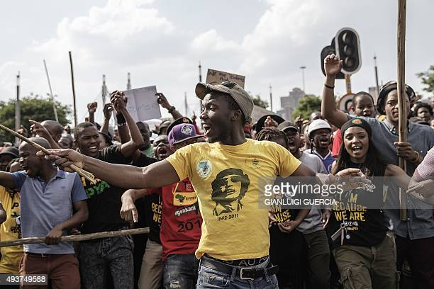 Demonstrators protest against fee hikes in Johannesburg on October 22 2015 Universities in Cape Town Johannesburg Pretoria and other cities have...