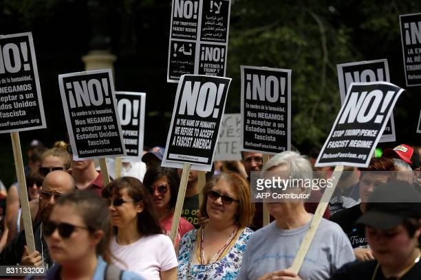 Demonstrators protest against hate white supremacy groups and US President Donald Trump on Sunday August 13 2017 in Chicago Illinois Protesters were...