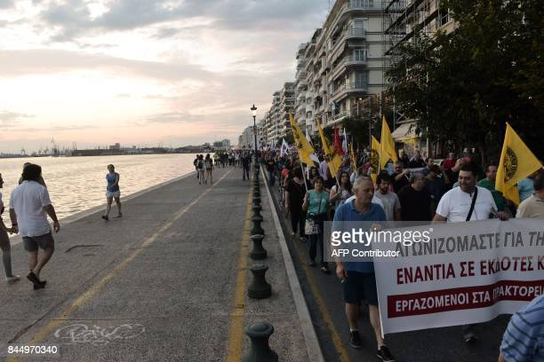 Demonstrators protest against the government's austerity measures and reforms outside the annual Thessaloniki International Fair in Thessaloniki...