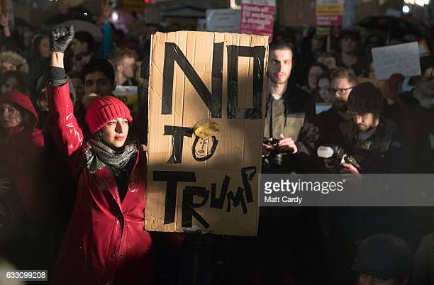 Demonstrators protest against US President Donald Trump's ban on people from seven Muslimmajority countries entering the US on College Green on...