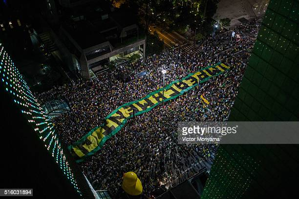Demonstrators protest for the impeachment of President Dilma Rousseff and also against corruption being investigated involving resource diversion and...