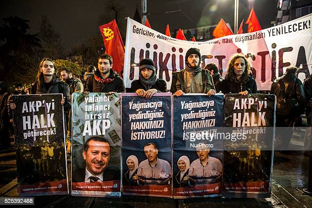 Demonstrators protest government corruption on February 25 2014 following the release of tapped phone conversation allegedly between Prime Minister...
