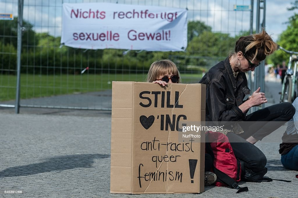 Demonstrators protest in Berlin Germany on 7 July 206 against sexual violence and against certain contents of the reform of the law governing sexual...
