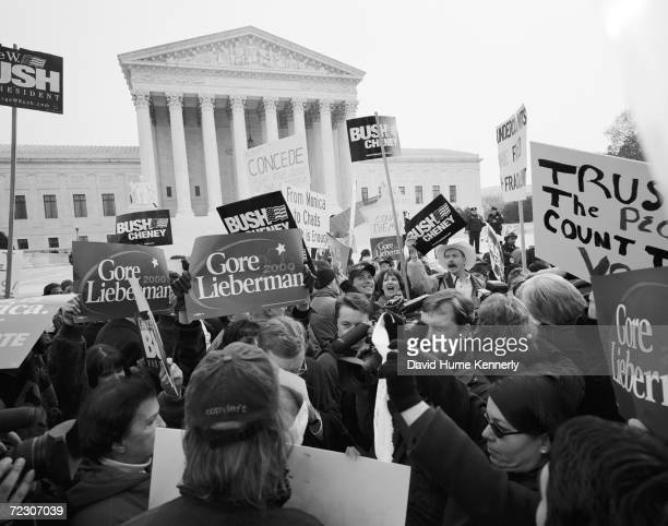 Demonstrators protest in front of the US Supreme Court while George W Bush vs Al Gore is being heard inside December 11 2000 in Washington DC