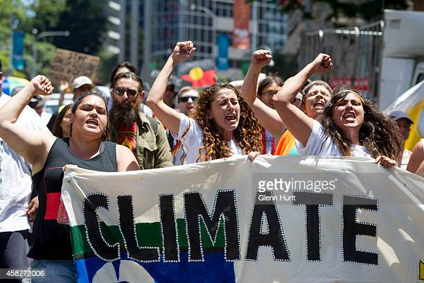 Demonstrators protest in the Brisbane CBD over climate change uranium mining coal seam gas fracking and traditional land rights ahead of the 2014 G20...