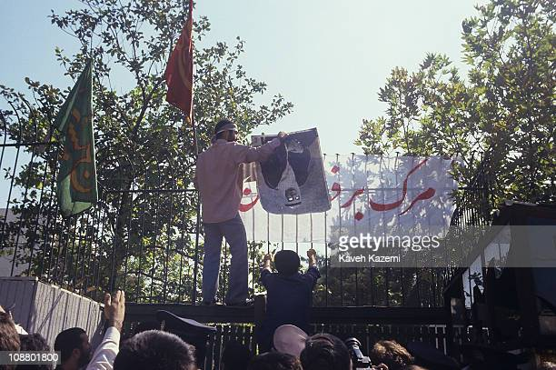 Demonstrators protest outside the Saudi Arabian embassy Tehran Iran August 1 1987 The day before hundreds of pilgrims had been killed during the...