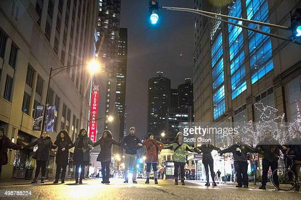 Demonstrators protest the death of Laquan McDonald on November 25 2015 in Chicago Illinois Small and mostly peaceful protests have sprouted up around...
