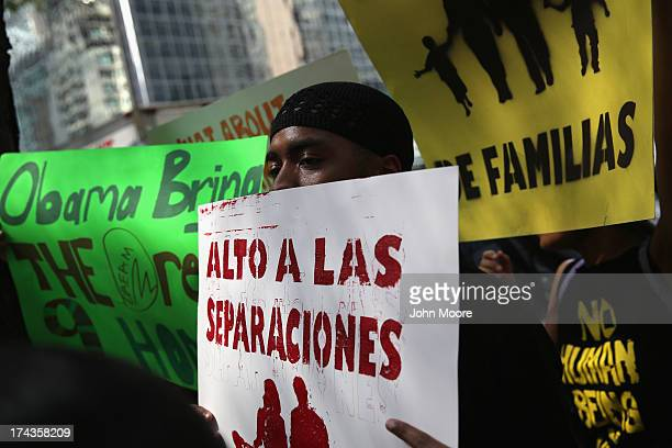 Demonstrators protest the deportation of undocumented immigrants on July 24 2013 in New York City Protesters from the New York State Youth Leadership...