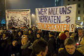 Demonstrators protesting against the new coalition government of Thuringia gather on December 4 2014 in Erfurt Germany The protest organized by the...