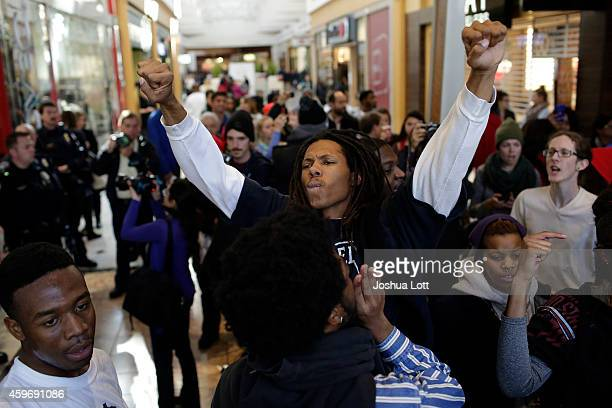 Demonstrators protesting the shooting death of Michael Brown walk through Saint Louis Galleria mall yelling chants during Black Friday November 28...