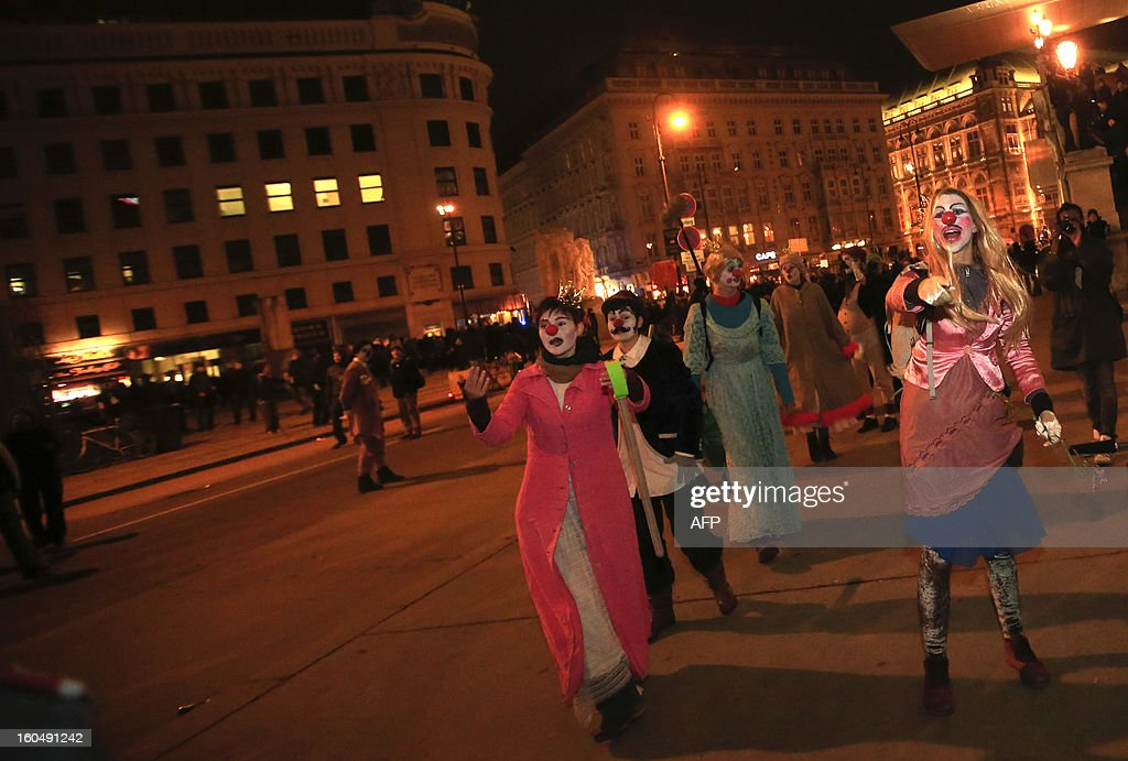 Demonstrators protests against the Wiener Akademikerball, a ball organised by the far-right Austrian Freedom Party (FPOE) at the Hofburg Palace in Vienna on February, 1 2013.