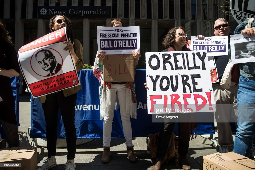 Demonstrators rally against Fox News television personality Bill O'Reilly outside of the News Corp. and Fox News headquarters in Midtown Manhattan, April 18, 2017 in New York City. The protest against O'Reilly, who has been the subject of numerous sexual harassment allegations and legal settlements, was organized by the women's group UltraViolet and the New York chapter of National Organization for Women.