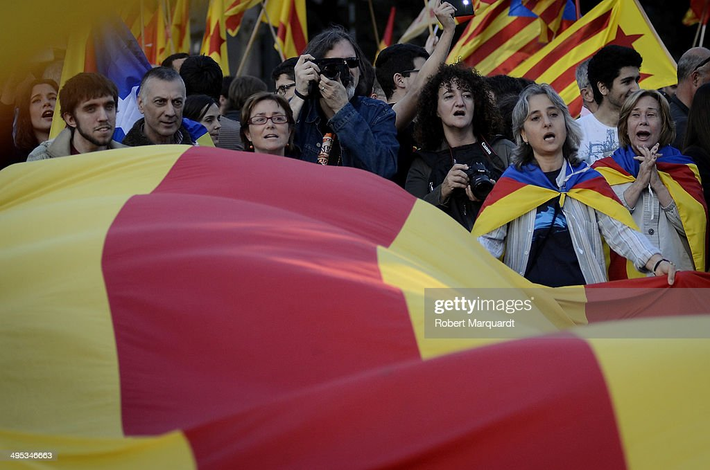 Demonstrators rally in Plaza Catalunya in favor of Catalan independence and Republic on June 2, 2014 in Barcelona, Spain. King Juan Carlos of Spain annouced today his abdication from the throne and will be succeded by his son Prince Felipe of Spain.