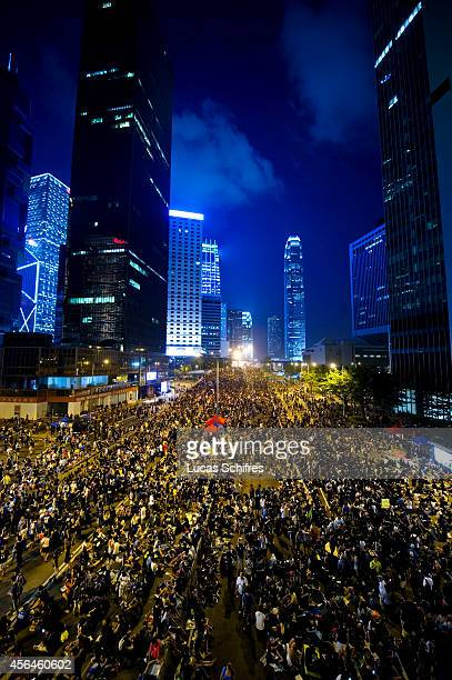 Demonstrators regroup in Admirality as part of a prodemocracy sitin known as 'Occupy Central' blocking traffic on Gloucester Road an otherwise busy...