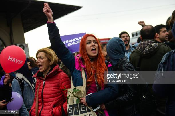 Demonstrators shout during a protest against the result of the nationwide referendum that will hugely enhance the president Recep Erdogan powers at...