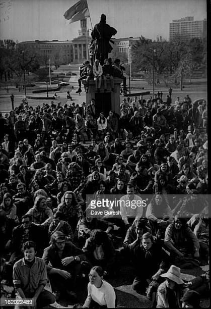 OCT 30 1970 NOV 1 1970 Demonstrators sit around statue from which a Viet Cong flag flies Organizers predicted 6000 persons would attend rally but...