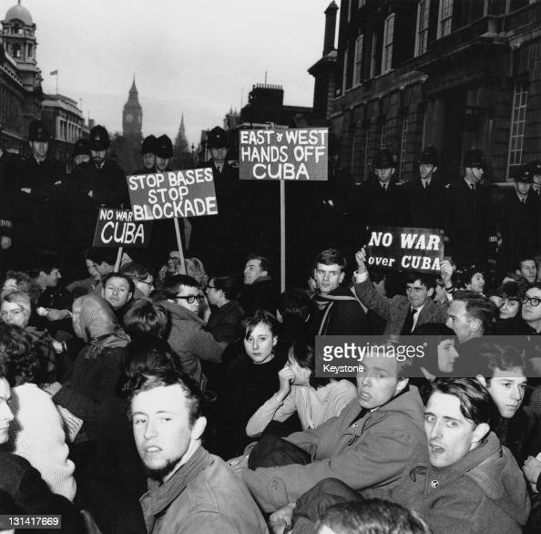 CND demonstrators sitting in the road on Whitehall London in protest against the United States' handling of the Cuban missile crisis Whitehall London...