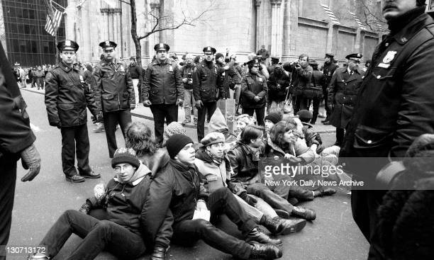 CHOICE demonstrators stage protest at St Patrick's Cathedral 111 were arrested including 43 inside the cathedral who disrupted Mass