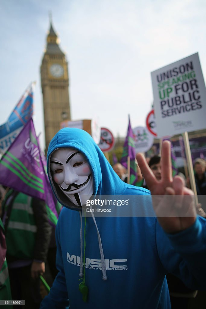 Demonstrators take part in a TUC march in protest against the government's austerity measures on October 20, 2012 in London, England. Thousands of people are taking part in the Trades Union Congress (TUC) organised anti-cuts march that ends with a rally in Hyde Park, where Labour leader Ed Miliband is scheduled to address the demonstrators.