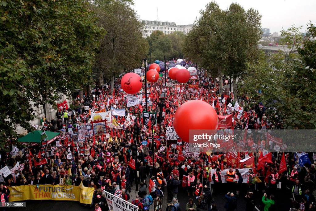 Demonstrators take part in a TUC march in protest against the government's austerity measures on October 20, 2012 in London, England. Thousands of people are taking part in the Trades Union Congress (TUC) organised anti-cuts march that ends with a rally in Hyde Park, where Labour leader Ed Miliband is scheduled to address the demonstrators