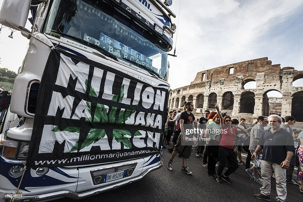 Demonstrators take part in the Global Marijuana March in Rome to ask for the legalization of marijuana on Saturday, May 10, 2014. Thousands of people marched downtown in Rome during the Global Marijuana March, an annual rally held at different locations across the planet, demanding the legalization of marijuana and changes in drug policies. The Global Marijuana March (GMM) also goes by the name of the Worldwide Marijuana March (WMM) or Million Marijuana March (MMM).